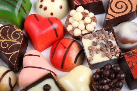 Assortment of sweet confectionery with chocolate candies and pralines Stock Photo
