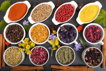 Rose petals and marigold and other herbs for aromatherapy herbal medicine. Spices. Stock Photo