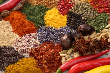 Colorful and aromatic spices and herbs. Food additives. Stock Photo
