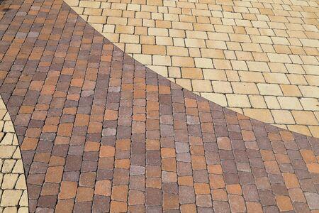Sett blokkeert de achtergrondstructuur. Betegelde, kleurrijke, decoratieve stoep. Stockfoto