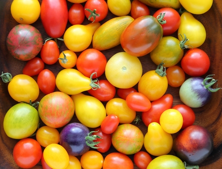 Colorful different kind tomatoes in wooden bowl. Stock Photo
