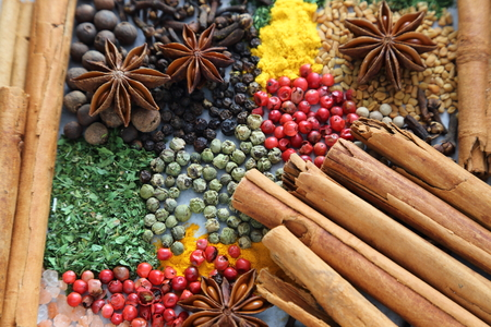 Colorful and aromatic spices and herbs. Food additives. 写真素材