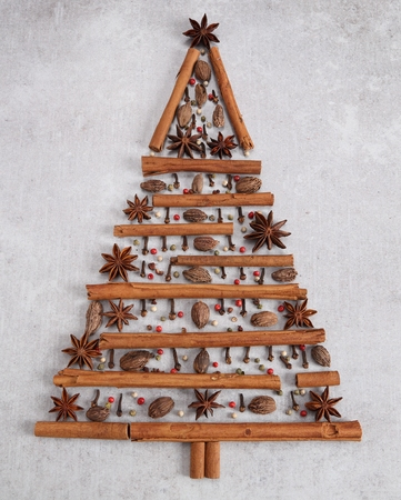 Christmas tree made from spices on a gray background.