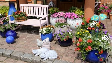 Garden decorations. Flower arrangements in ceramic pots.
