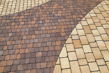 Sett blocks background texture. Tiled, colorful, decorative pavement.