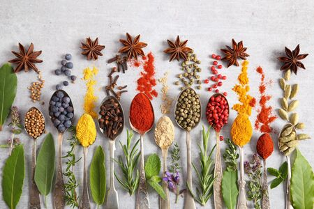 Aromatic herbs and spices on spoons. Top view, flat lay. Stock Photo