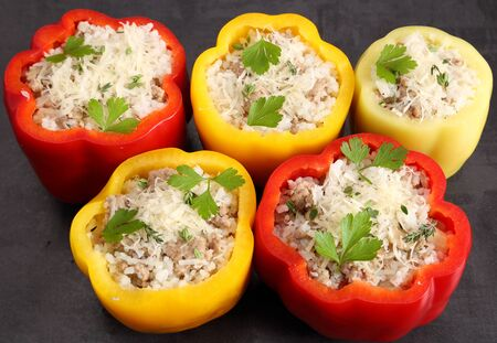 Stuffed peppers with rice, meat and cheese. Reklamní fotografie