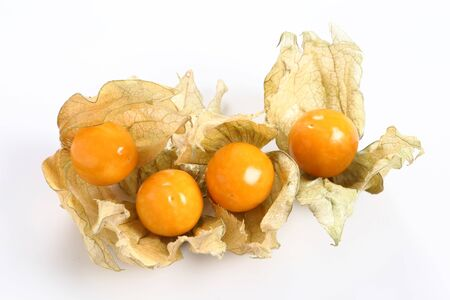 Physalis fruits ( Physalis peruviana) on a white background. Golden berry, Cape gooseberry.
