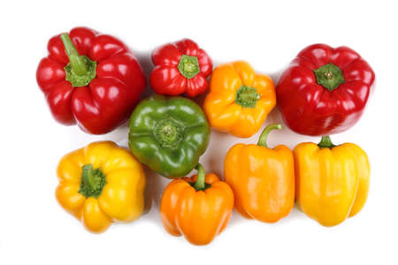 Colorful peppers on a white background. Stock Photo