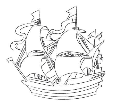 Vintage sailboat sketch art vector.