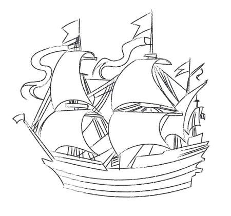 sailer: Vintage sailboat sketch art vector.