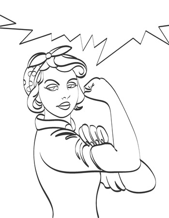 We Can Do It. Iconic woman's fist symbol of female power and industry. cartoon woman with can do attitude Çizim
