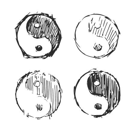 ing yang vector sketch doodle in old style for decoration. Ilustração