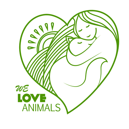 vegan: Shelter pets sign icon. Animal protection. We love animals. Illustration