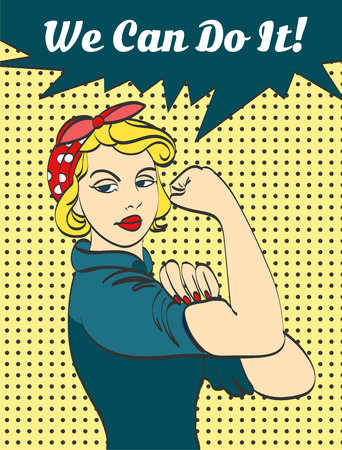We Can Do It. Iconic womans fist symbol of female power and industry. cartoon woman with can do attitude.