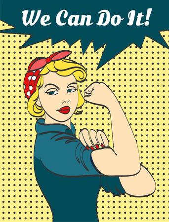 우리는 할 수있다. 여성의 힘과 산업에 대한 상징적 인 여자의 주먹 상징. 만화 여자와 태도를 할 수 있습니다.