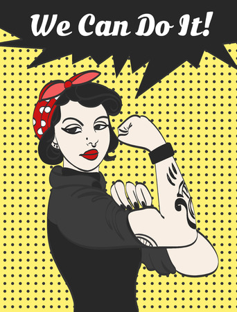 subculture punk gothic woman with signature we can do it. Vektorové ilustrace