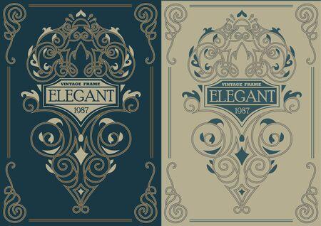 variants: Elegant vintage template variants for decor, invitation, design element. Illustration