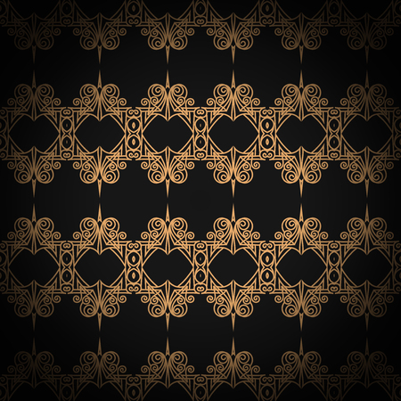 quilted: Quilted seamless pattern. Black color. Golden metallic stitching on textile Illustration