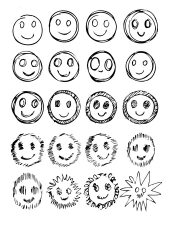 moods: vector set of hand drawn happy faces, smiles, moods isolated.