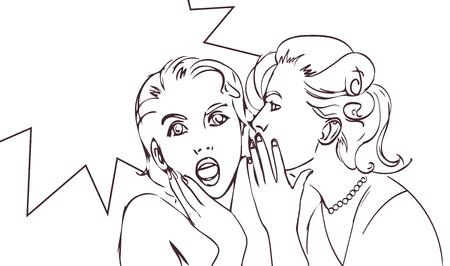 gossiping: big secret comic pop art illustration of two women lineart vector for your design.