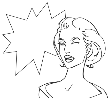 cheek: Colored pop art beautiful happy blonde woman with speech bubble pow. Vector lineart