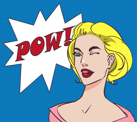 vintage pin up: Colored pop art beautiful happy blonde woman with speech bubble pow. Vector lineart