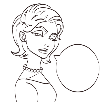 lineart: lineart vector woman talk picture. Pop art style Illustration