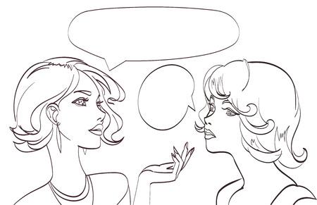 belle disegnate due donne che parlano al tratto. Vector pop art syle.