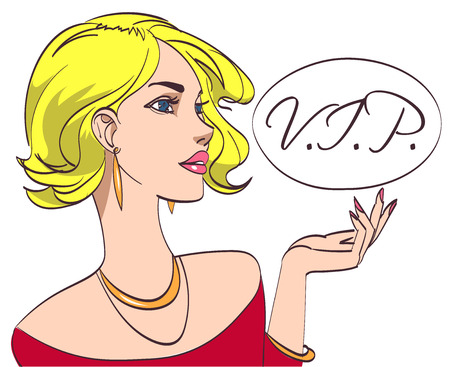 blondy: Vector colorful pop art drawing of beautiful blondy lady in red with VIP signature on white background.