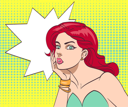 Very beautiful colorful cartoon woman in pop art style. Illustration