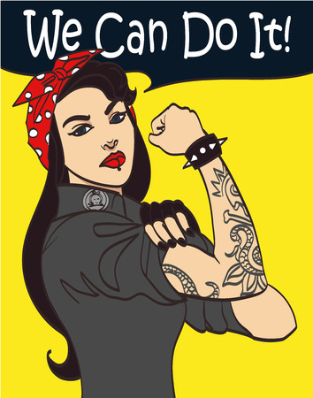 Cool nice drawn vector subculture punk gothic woman with signature we can do it.