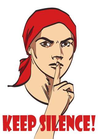 guardar silencio: vector de la mujer cartel sovi�tico de la vendimia con la firma guardar silencio. capas sobre fondo blanco para su dise�o.