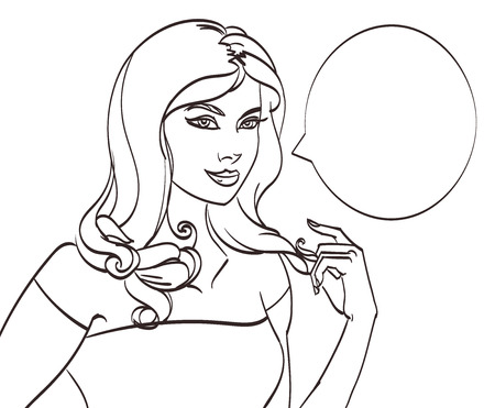 hair pins: Very beautiful cartoon woman in pop art style. Lineart isolated vector