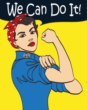 Podemos hacerlo. Vector fresco símbolo del puño de la mujer icónica del poder femenino y la industria. mujer de la historieta con actitud puede hacer.
