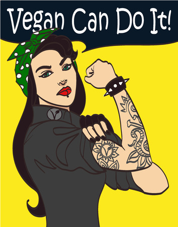 american revolution: Cool nice drawn vector subculture punk gothic woman with signature we Vegan Can Do It.