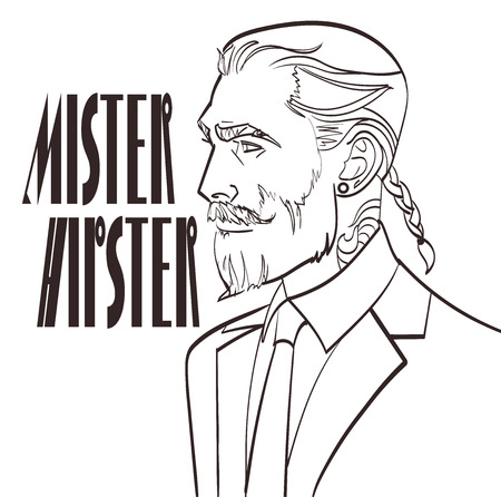 Vector illustration of a modern man in a pop art, comic style with signature Mister Hipster. Nice lineart of handsome male,