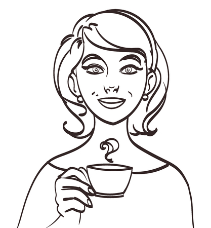 closeup: vector cute smiling woman with tea or coffe