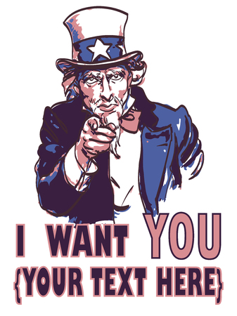vector vintage patriotic poster with signature I want you and your text for your design. Eps 10. Çizim