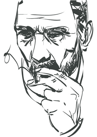 carcinogenic: Man smoking cigarette on white background. Doodle vector eps 10. Illustration
