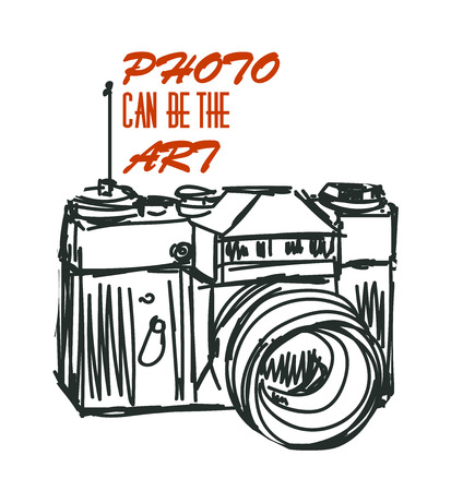 photocamera: Vector art photocamera with signature. Isolated eps 10.