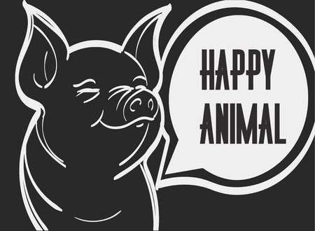 Vector picture of pig. Hand drawn vector illustration, eps 10. Ilustração
