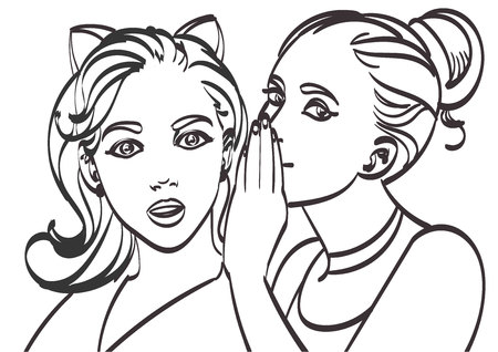 two women talking: Two young beautiful women talking about something. Illustration