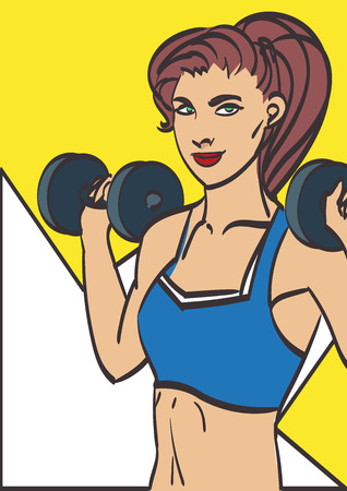 fitness girl with dumbbells on a white background. Isolated on layers in my gallery.