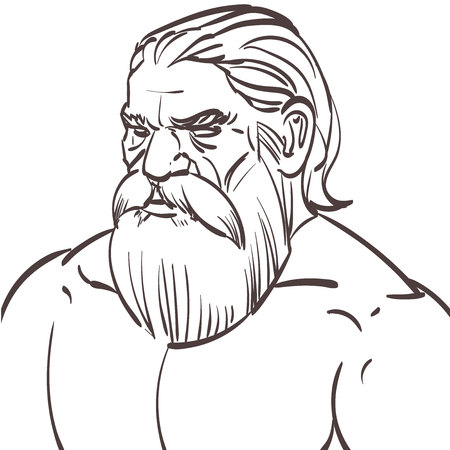 bearded man: hand drawn portrait of an old bearded man with muscles. Illustration