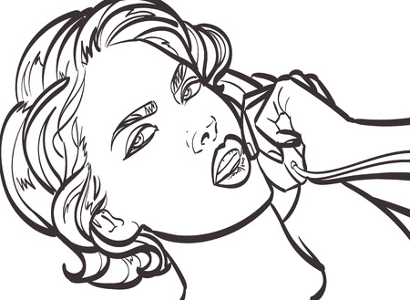 woman on phone: Illustration of a woman with phone
