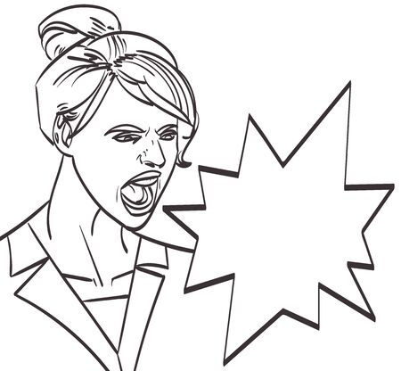 Illustration of a screaming woman Illustration