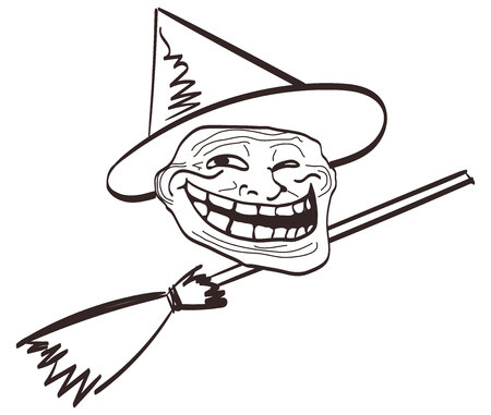 cartoon meme Halloween face.