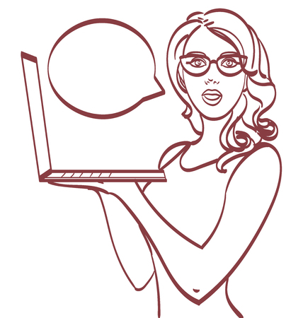 Business woman with laptop. Pop art style
