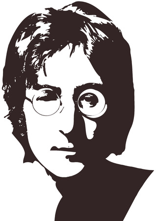 A vector illustration of a portrait of singer John Lennon on a white background. A4 format, Eps 10 on layers